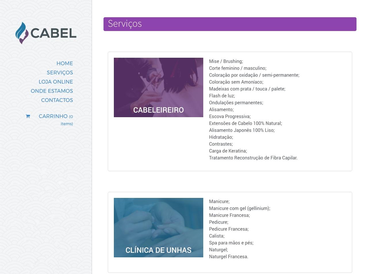 Modelos de Website Cabeleireiros Serviços Linha Virtual
