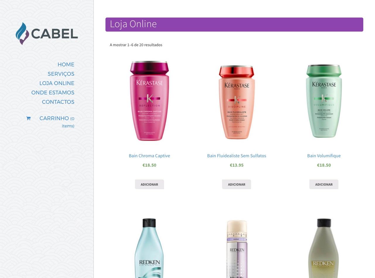 Modelos de Website Cabeleireiros Loja Linha Virtual
