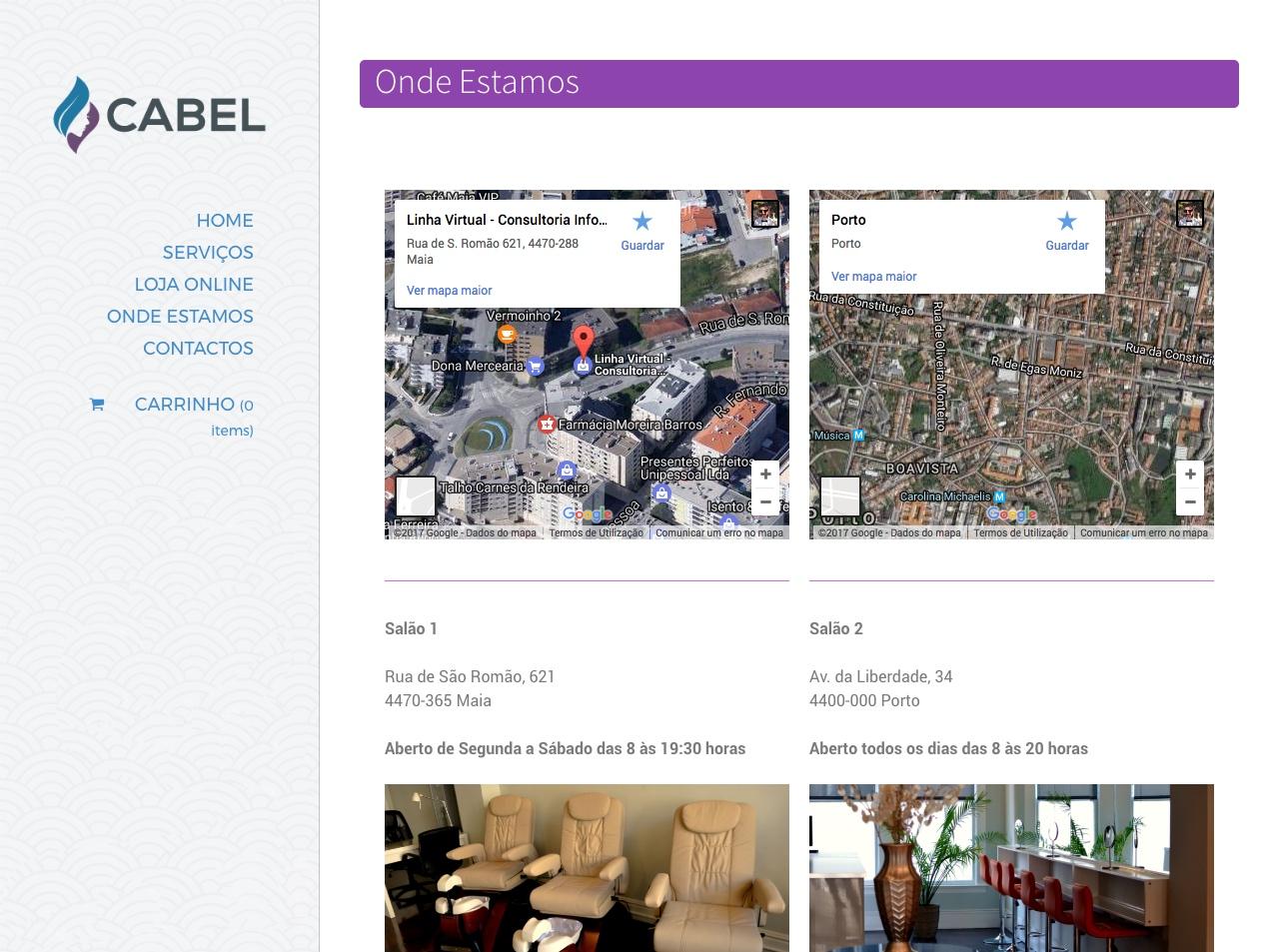 Modelos de Website Cabeleireiros Contactos Linha Virtual