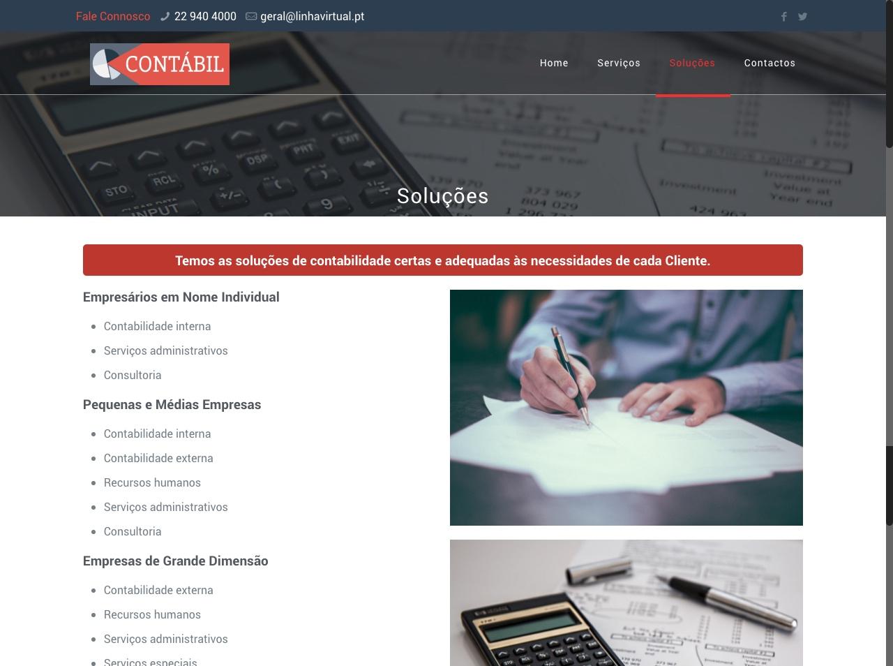 Modelos de Website Contabilidade Soluções Linha Virtual