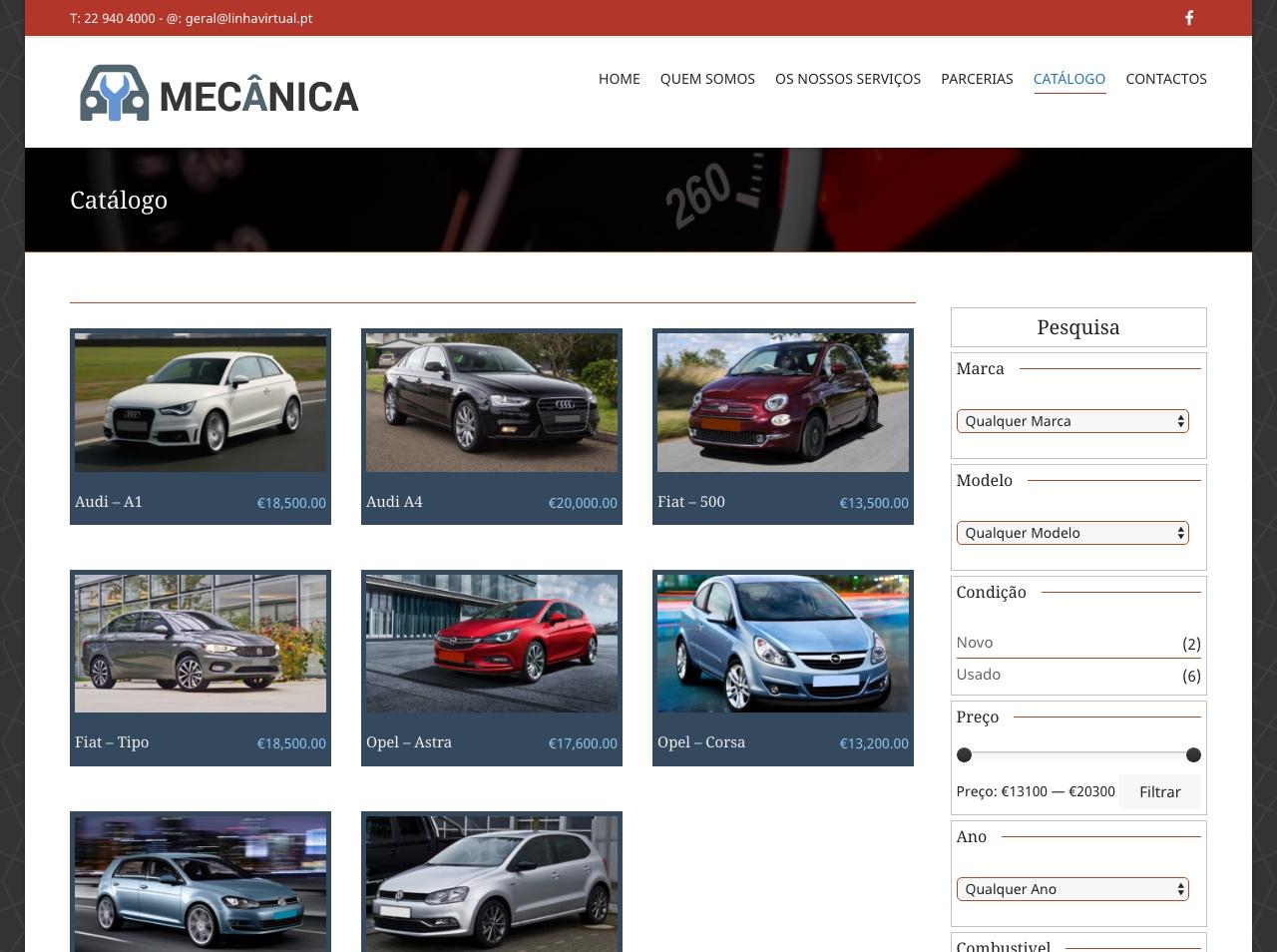 Modelos de Website Mecânicas Loja Linha Virtual