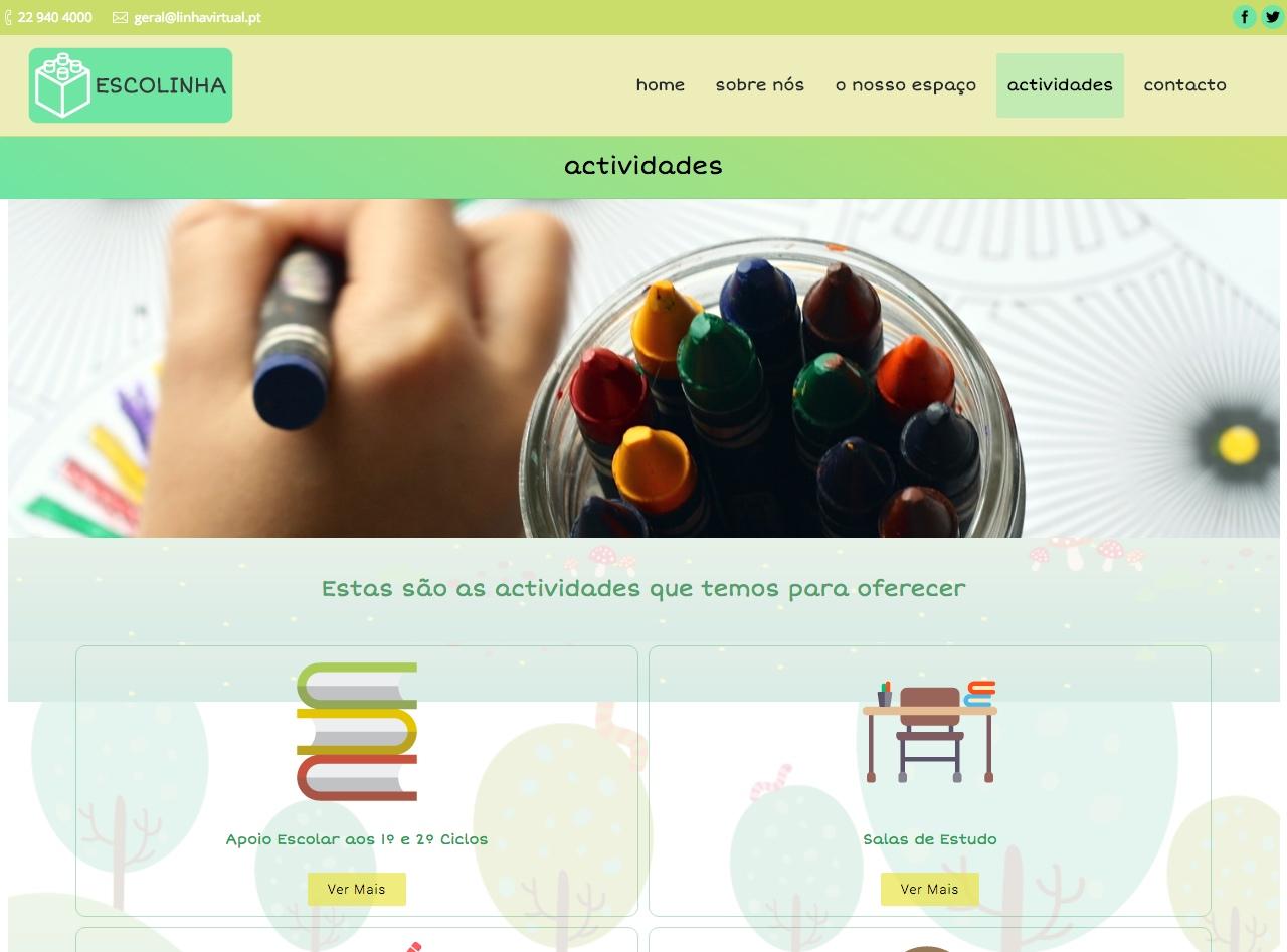 Modelos de Website Escolas Actividades Linha Virtual