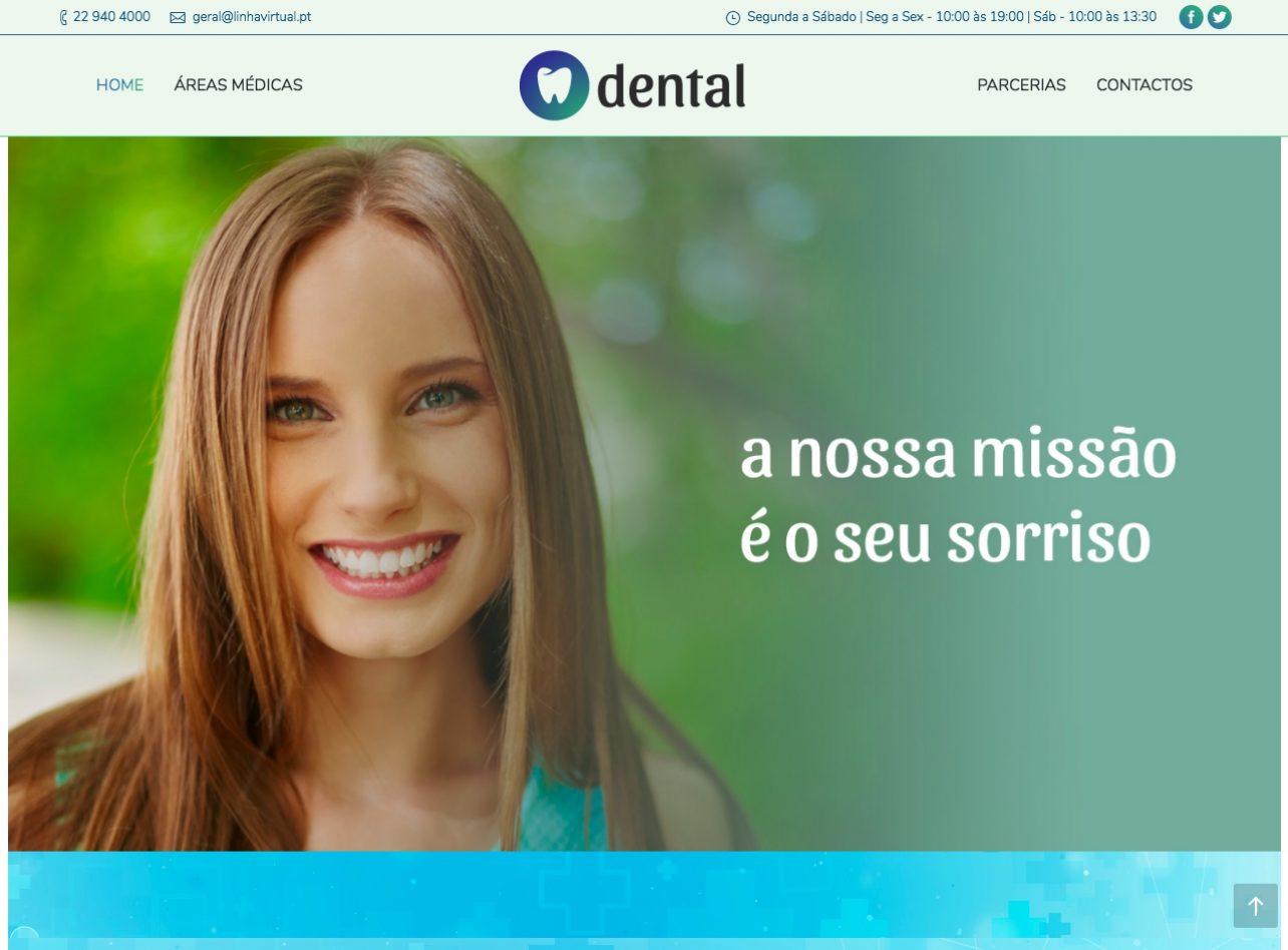 Modelos de Website Dentistas Homepage Linha Virtual