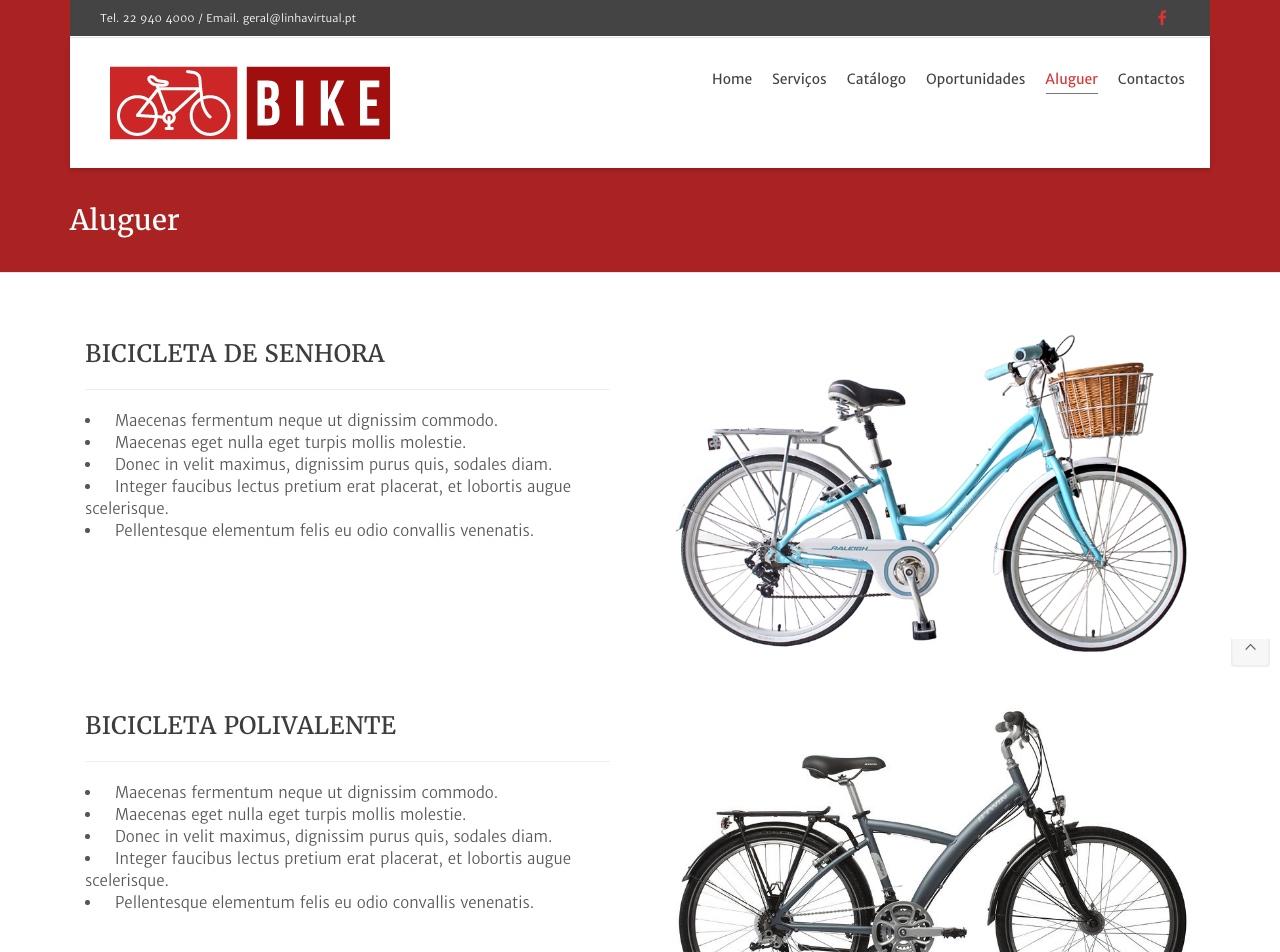 Modelos de Website Bicicletas Aluguer Linha Virtual