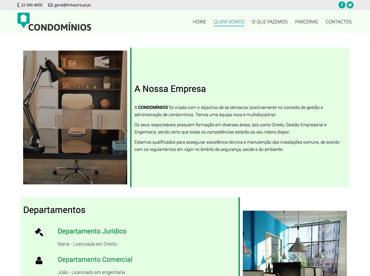 Modelos de Website Condomínios Empresa Linha Virtual
