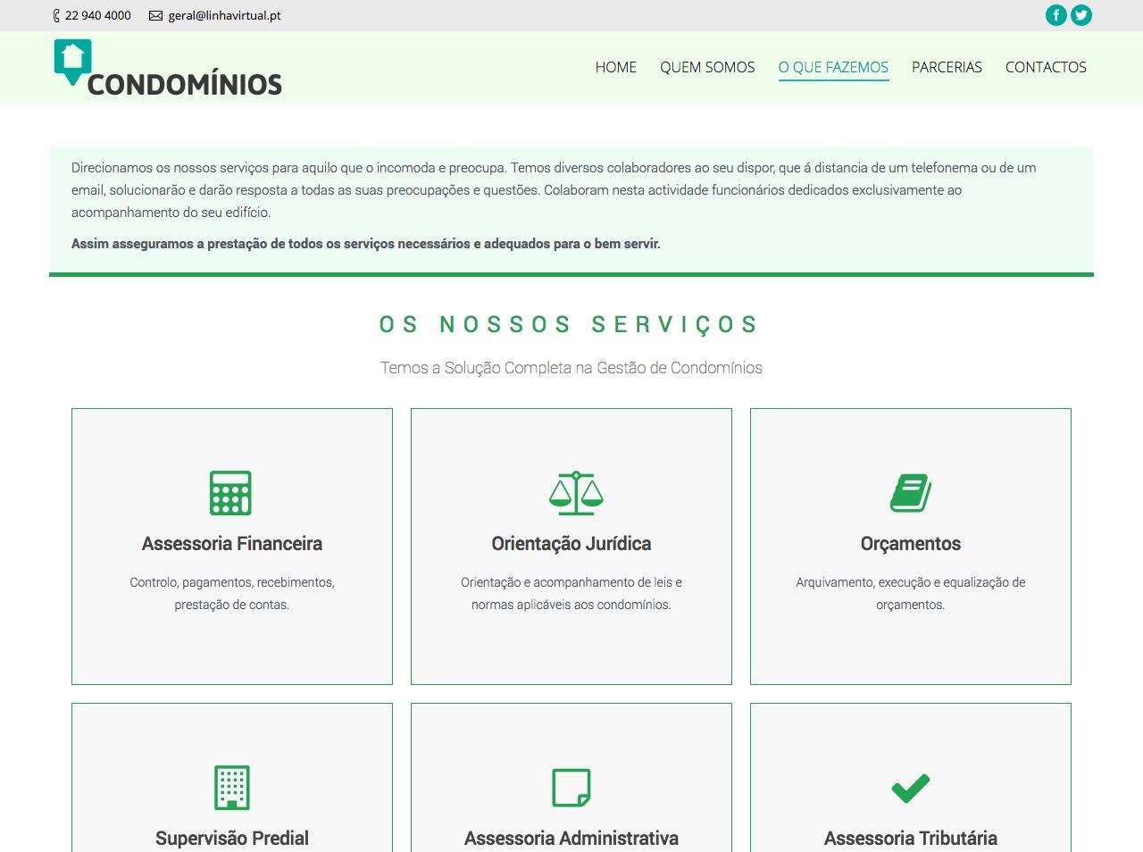 Modelos de Website Condomínios Serviços Linha Virtual