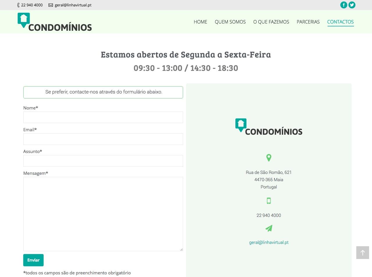 Modelos de Website Condomínios Contactos Linha Virtual