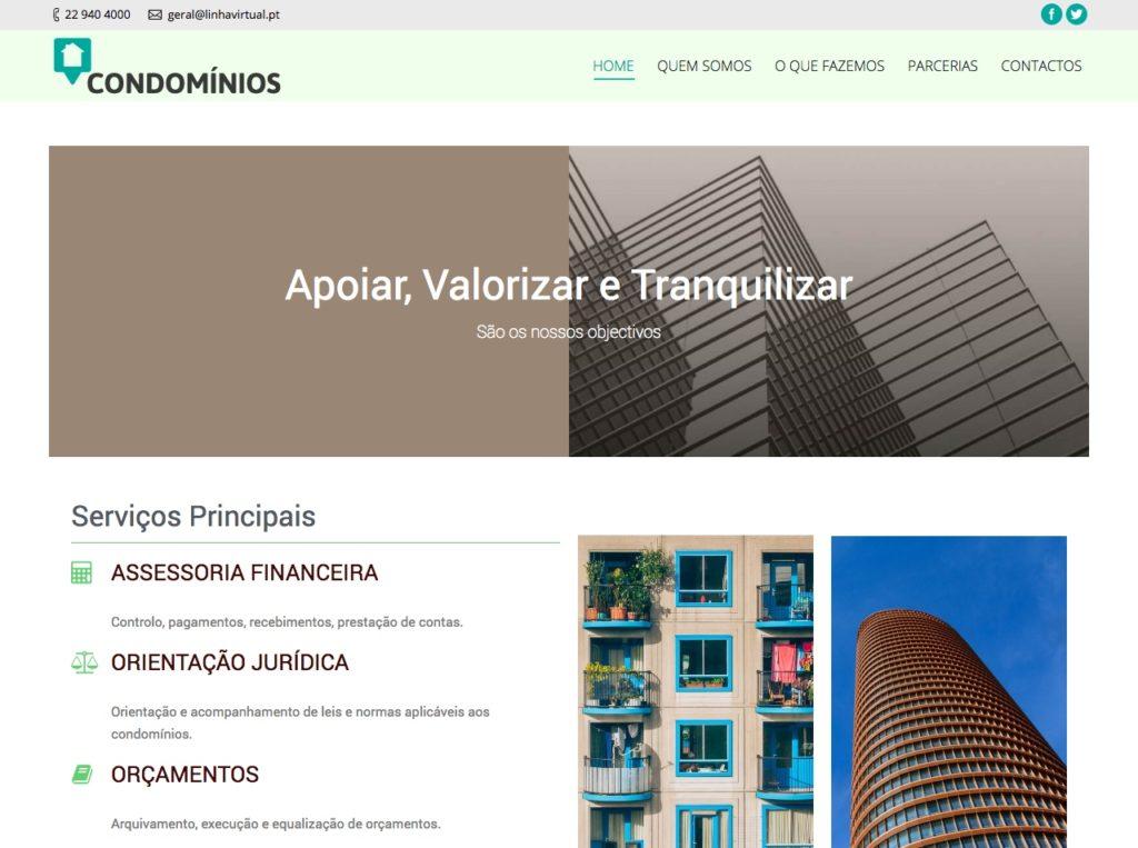 Modelos de Website Condomínios Homepage Linha Virtual