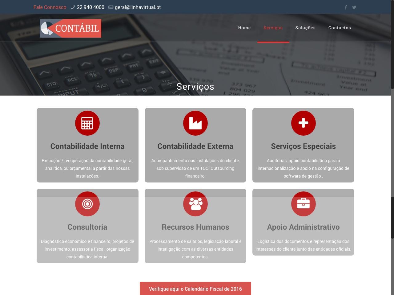 Modelos de Website Contabilidade Serviços Linha Virtual