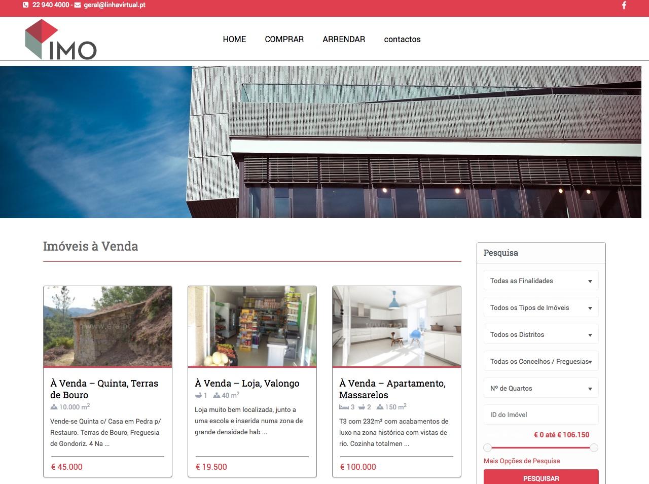 Modelos de Website Imobiliárias Lista Linha Virtual