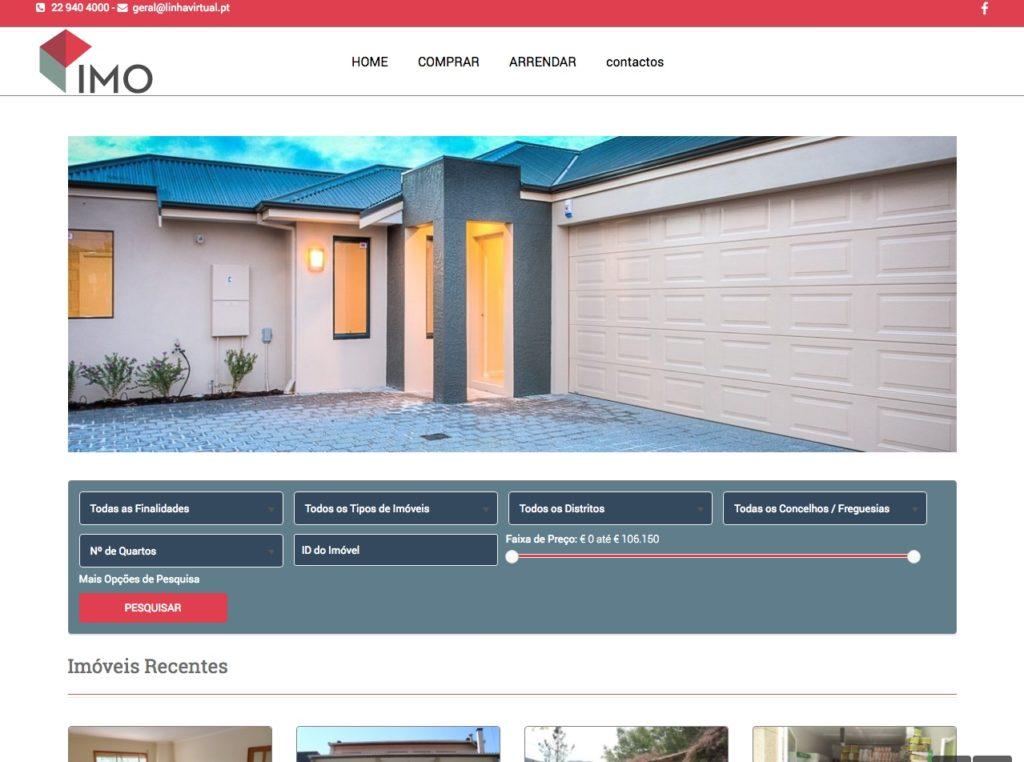 Modelos de Website Imobiliárias Homepage Linha Virtual