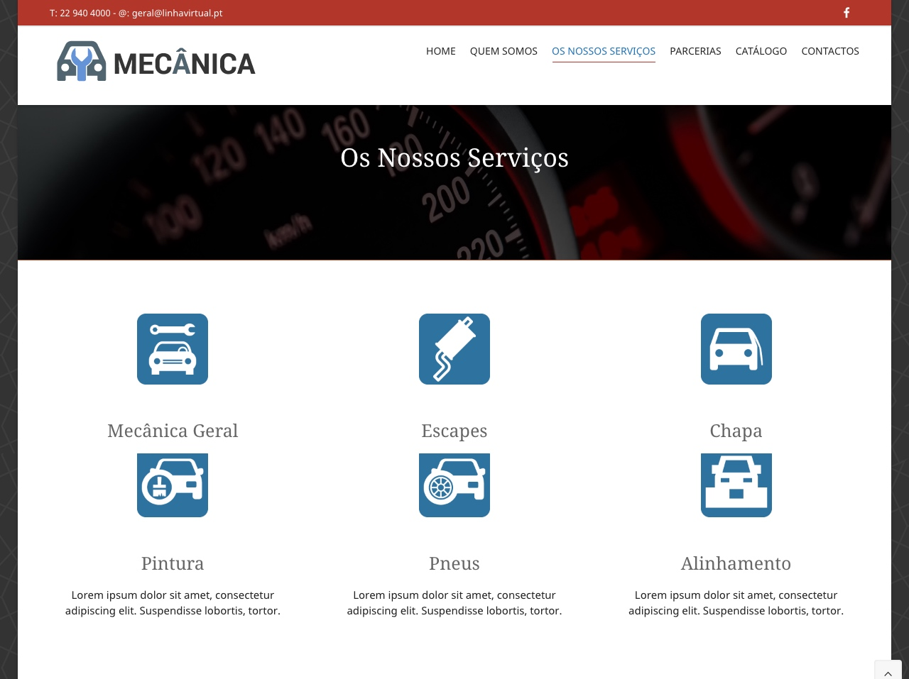 Modelos de Website Mecânicas Serviços Linha Virtual