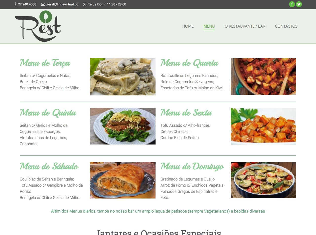 Modelos de Website Restaurantes Menu Linha Virtual