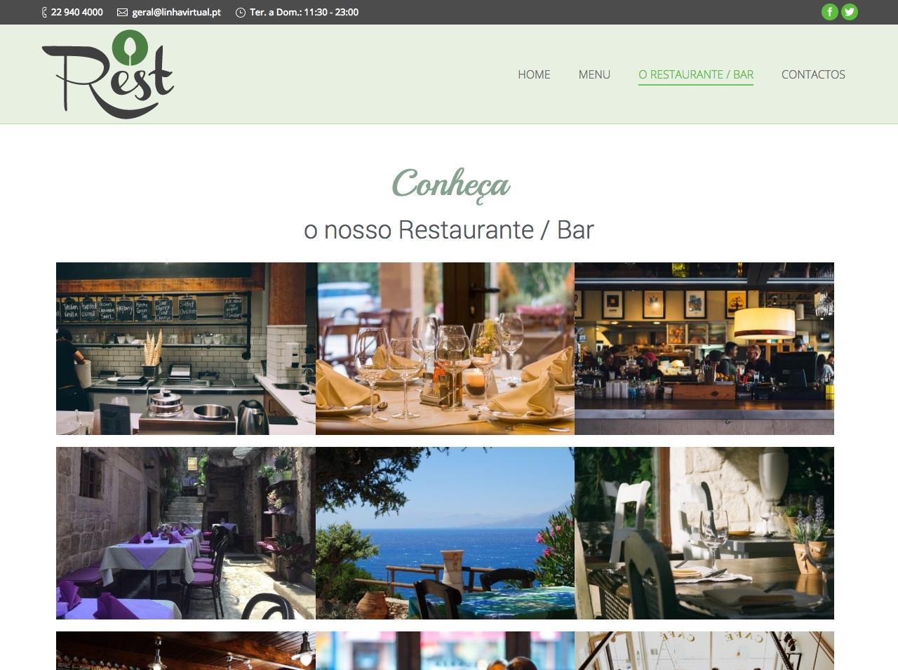 Modelos de Website Restaurantes Galeria Linha Virtual