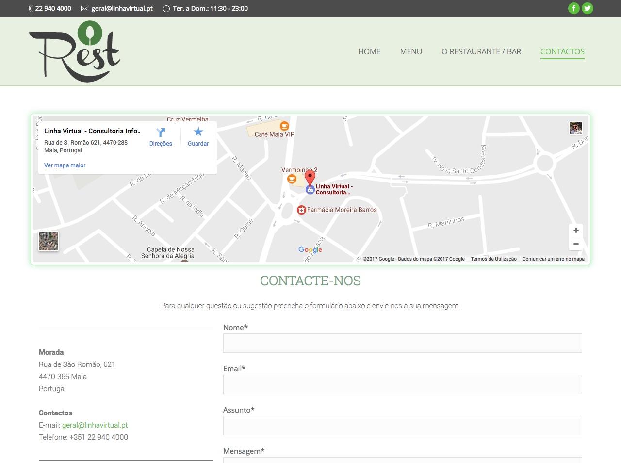 Modelos de Website Restaurantes Contactos Linha Virtual