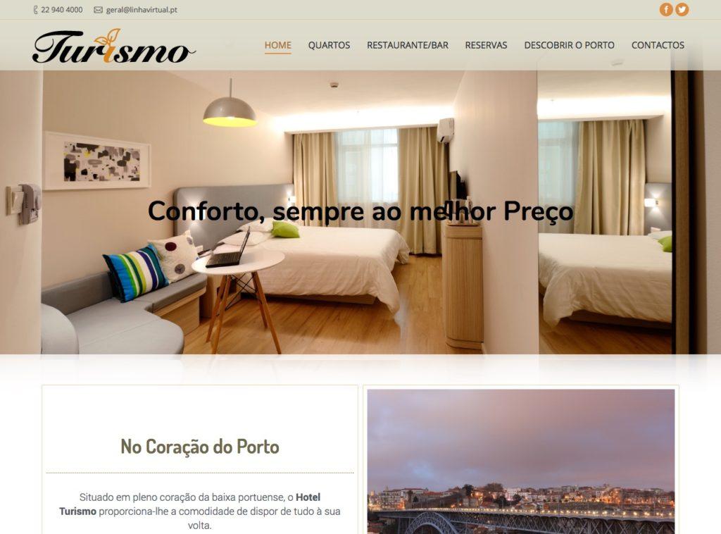 Modelos de Website Hotelaria Homepage Linha Virtual