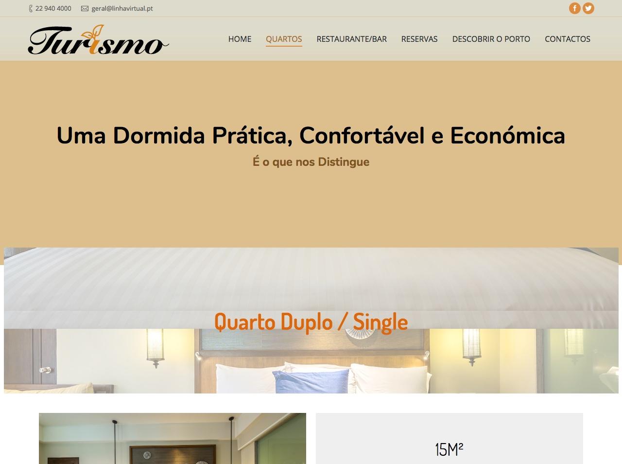 Modelos de Website Hotelaria Quartos Linha Virtual