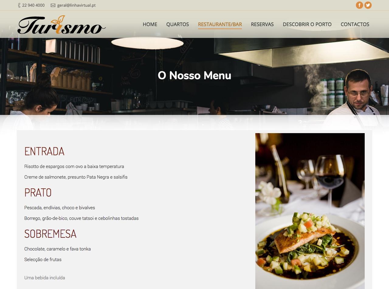 Modelos de Website Hotelaria Menu Linha Virtual