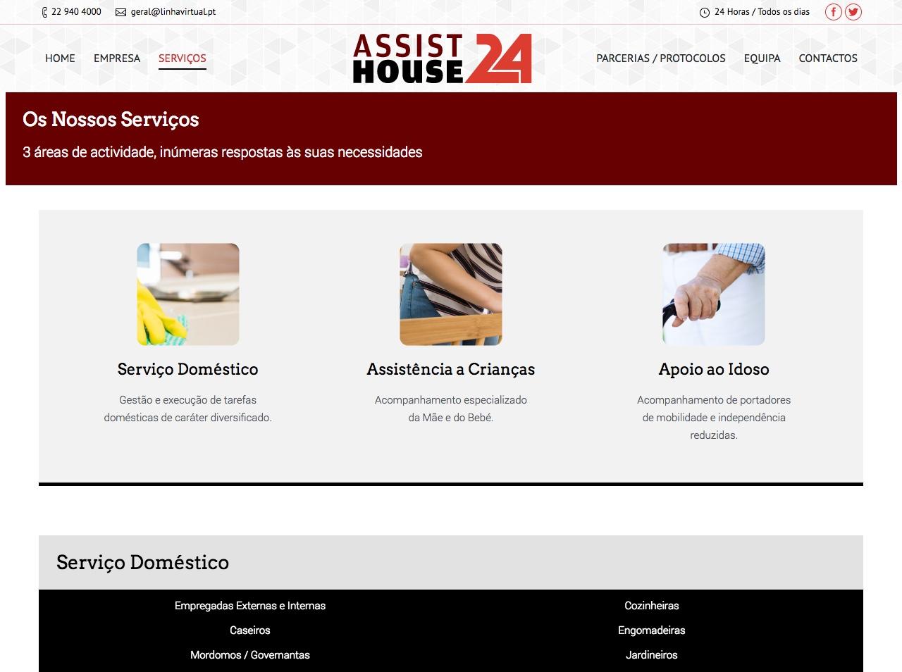Modelos de Website Serviços Domésticos Serviços Linha Virtual