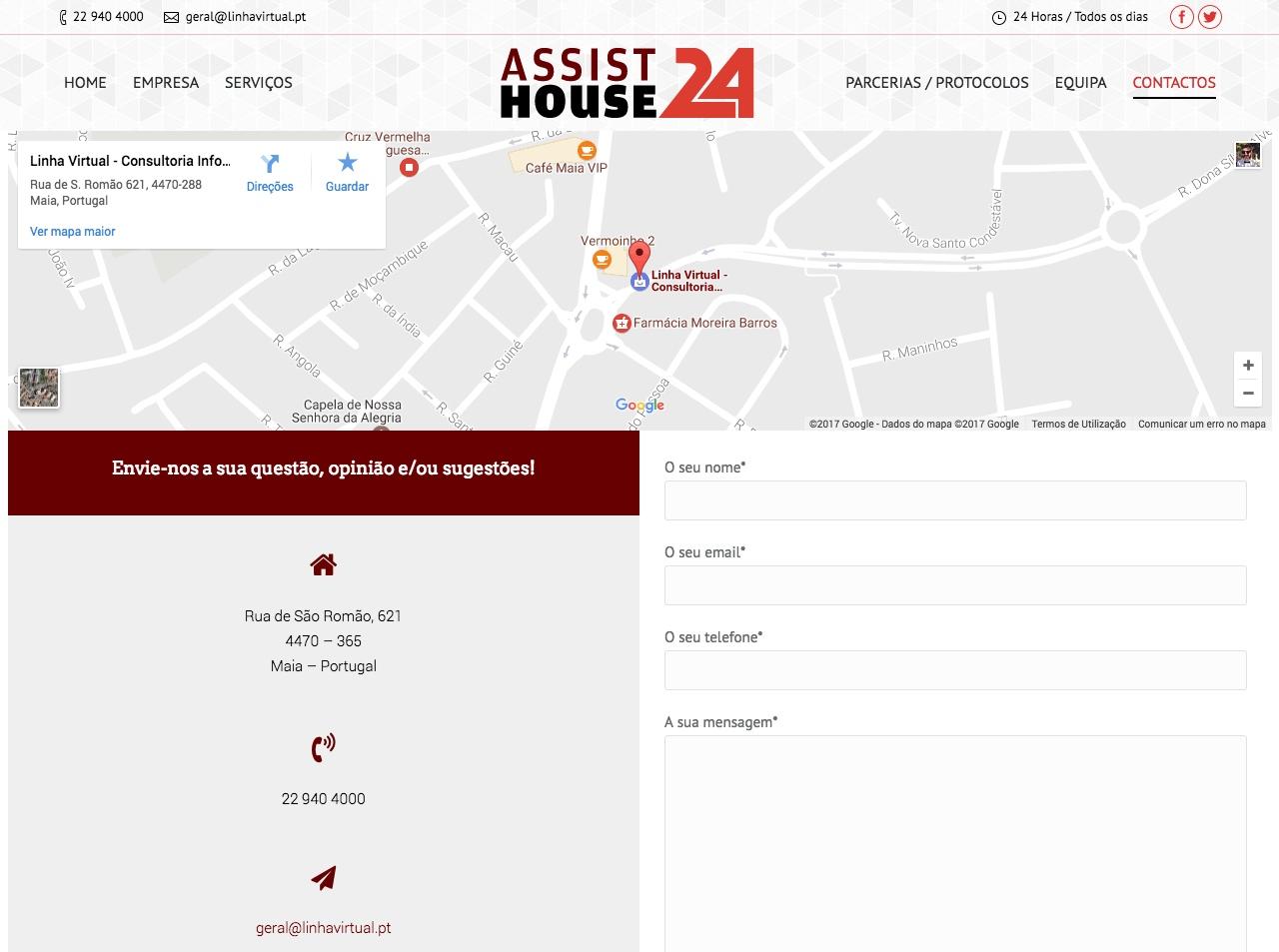 Modelos de Website Serviços Domésticos Contactos Linha Virtual
