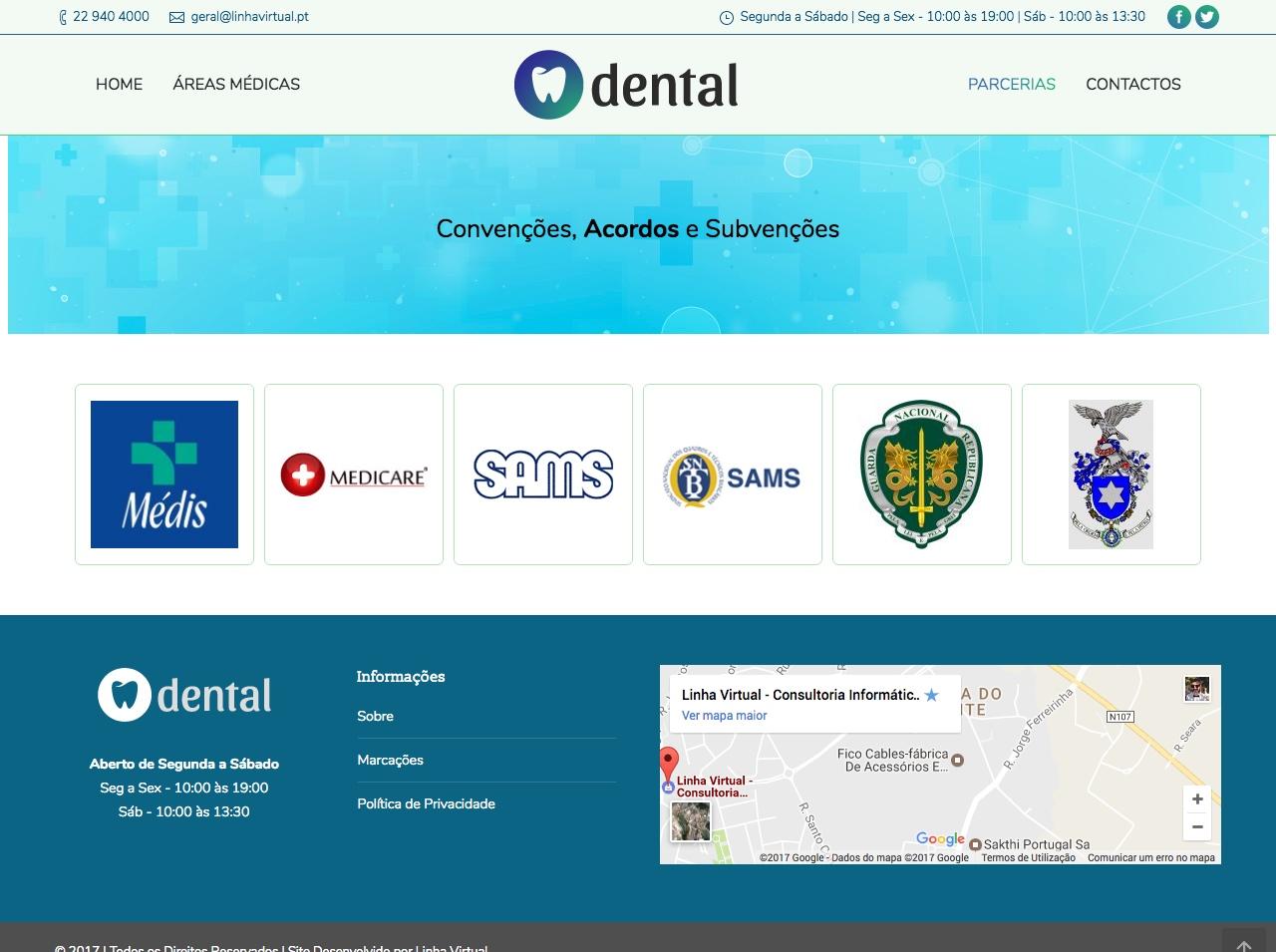 Modelos de Website Dentistas Acordos Linha Virtual