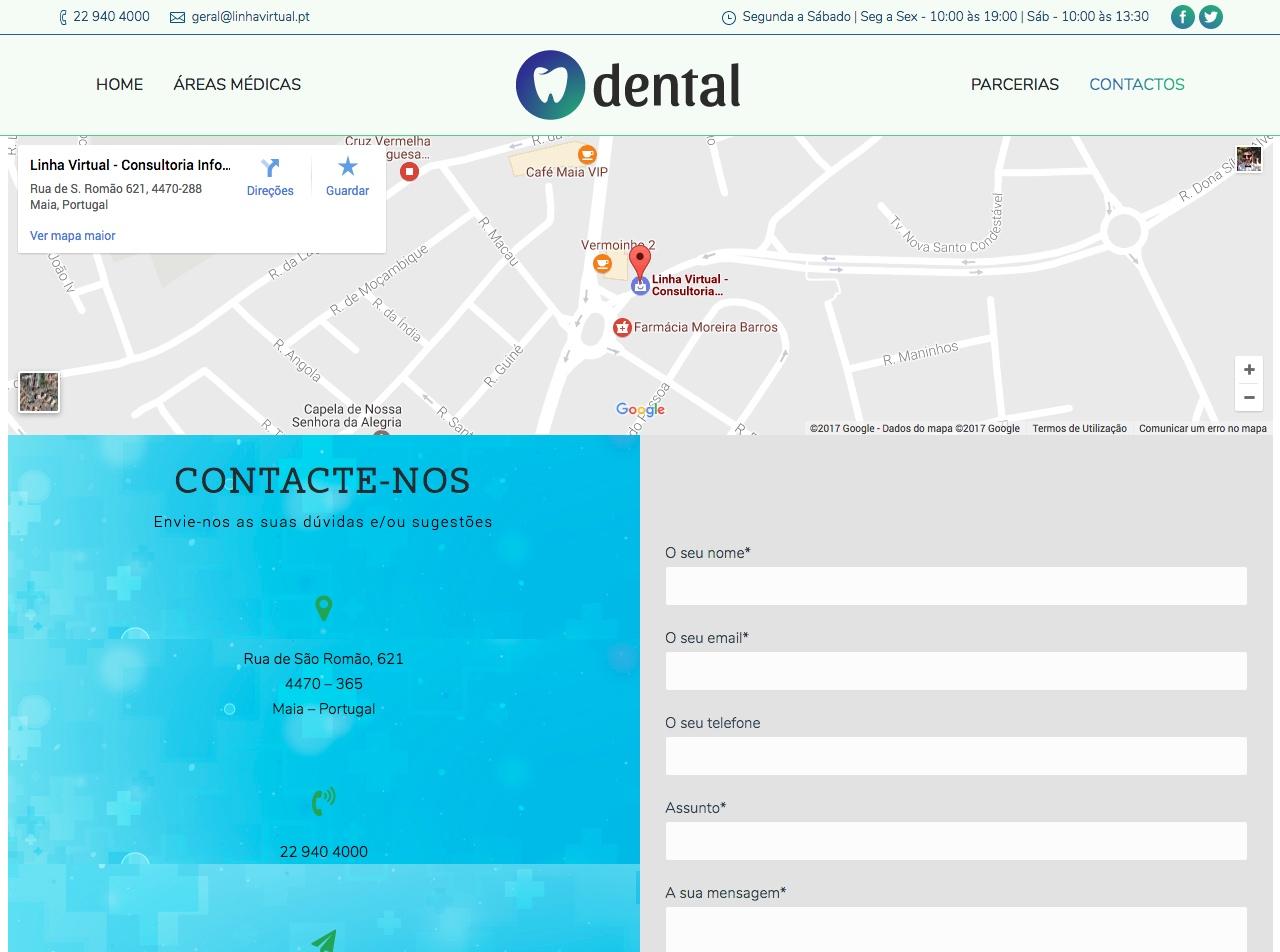 Modelos de Website Dentistas Contactos Linha Virtual