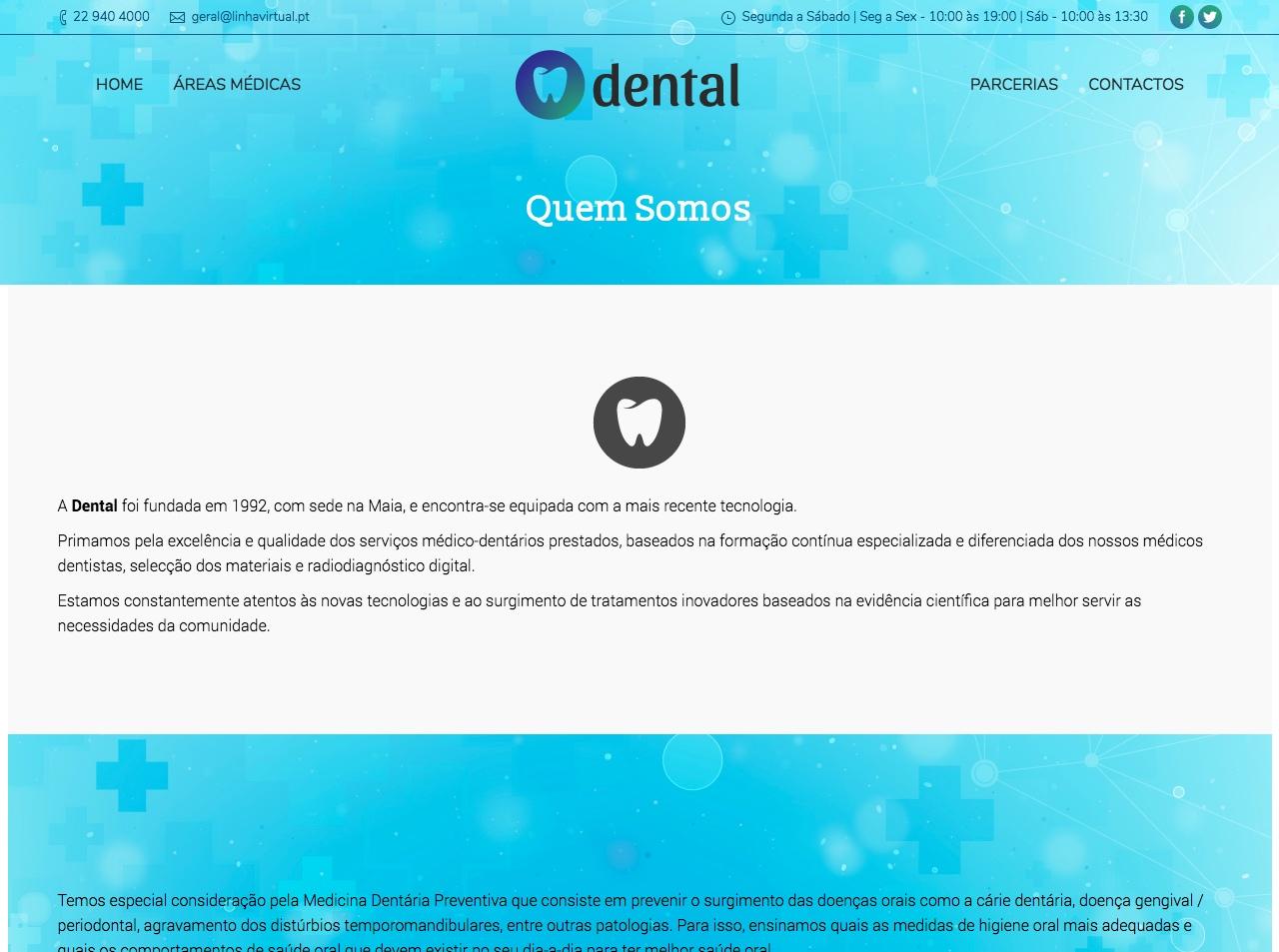 Modelos de Website Dentistas Empresa Linha Virtual