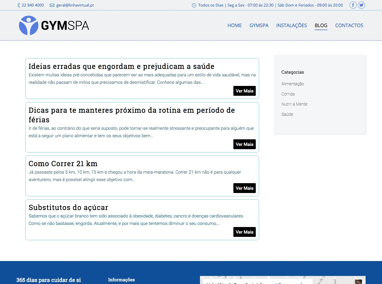 Modelos de Website Ginásios Blog Linha Virtual