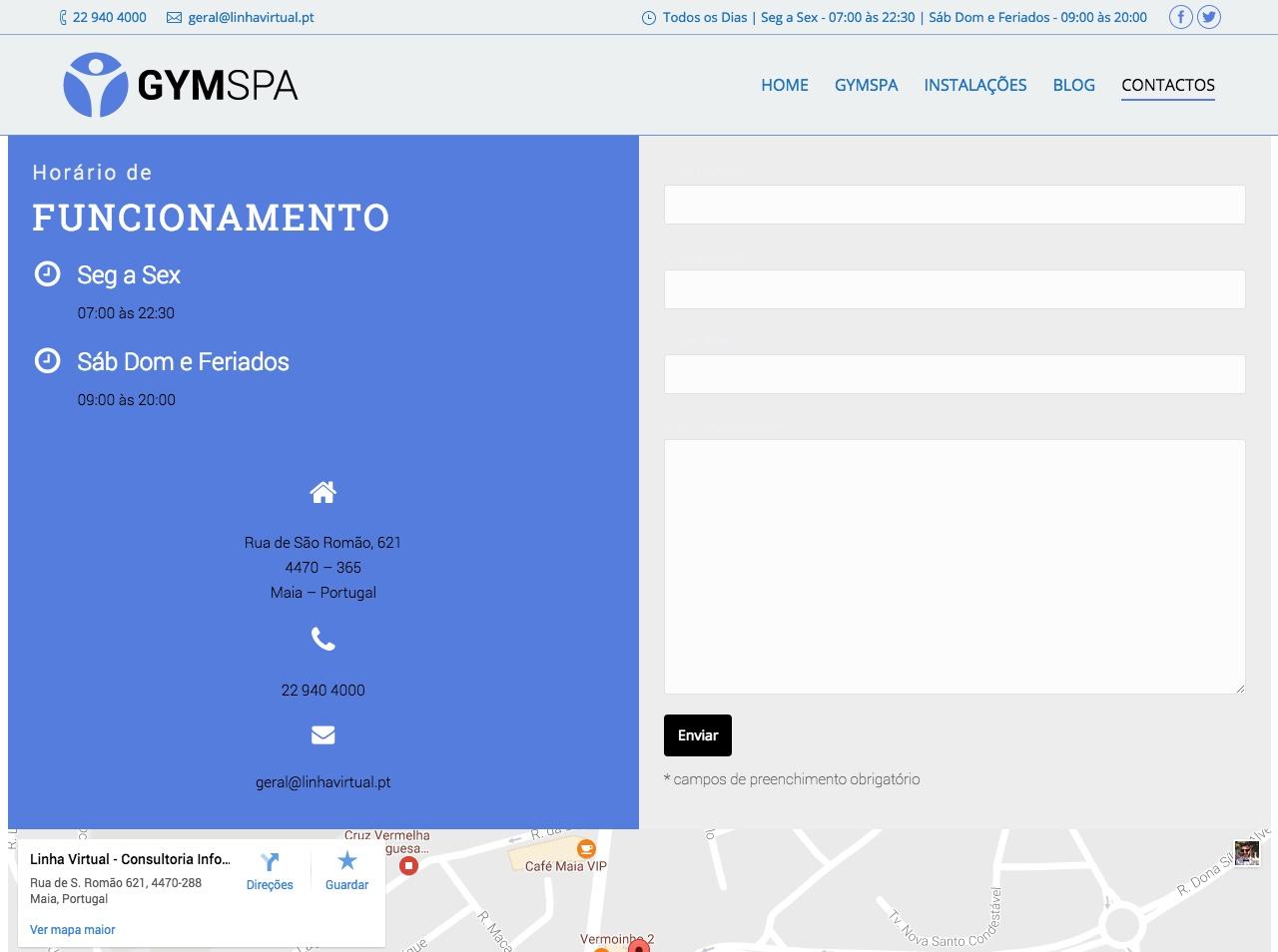 Modelos de Website Ginásios Contactos Linha Virtual