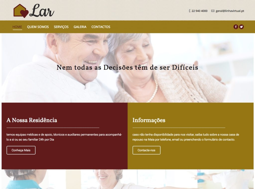 Modelos de Website Lares Homepage Linha Virtual
