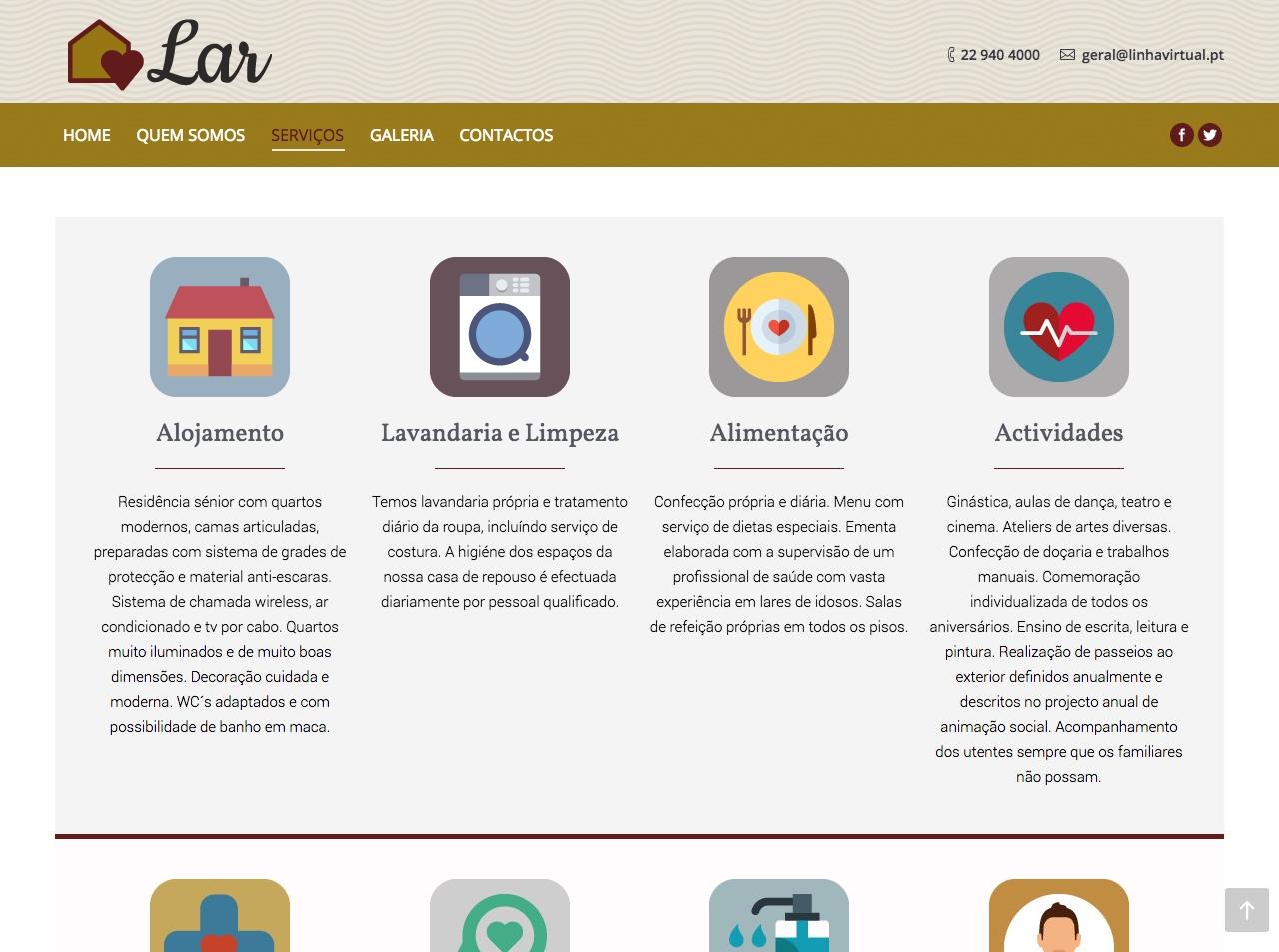 Modelos de Website Lares Serviços Linha Virtual