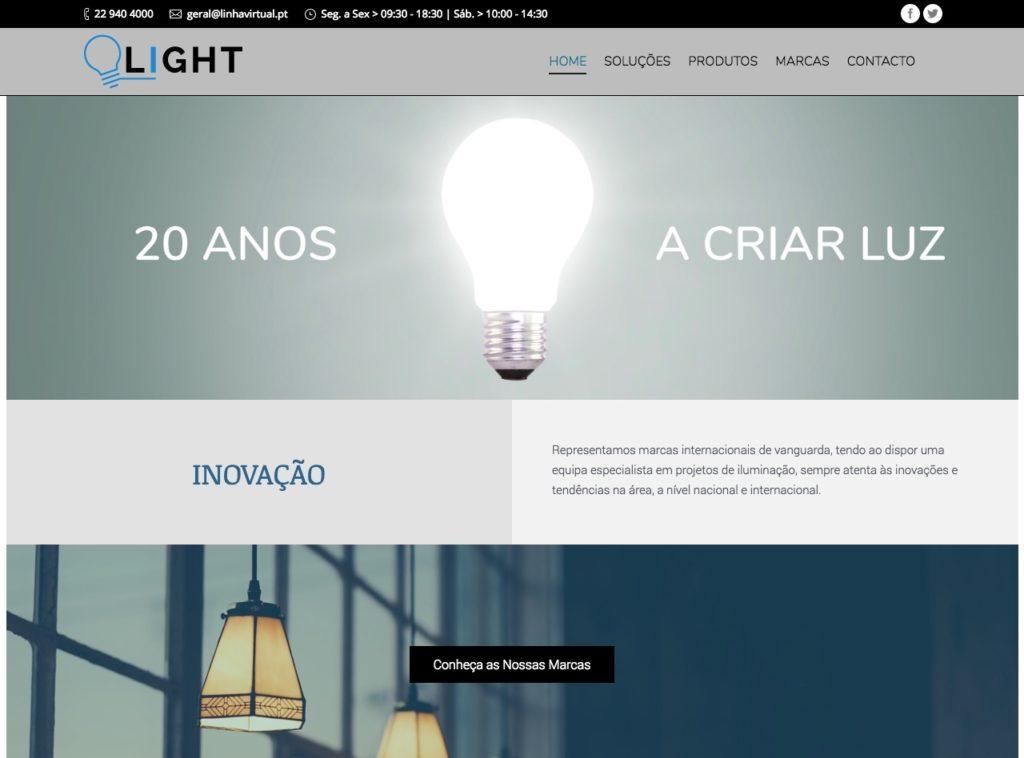 Modelos de Website Iluminação Homepage Linha Virtual