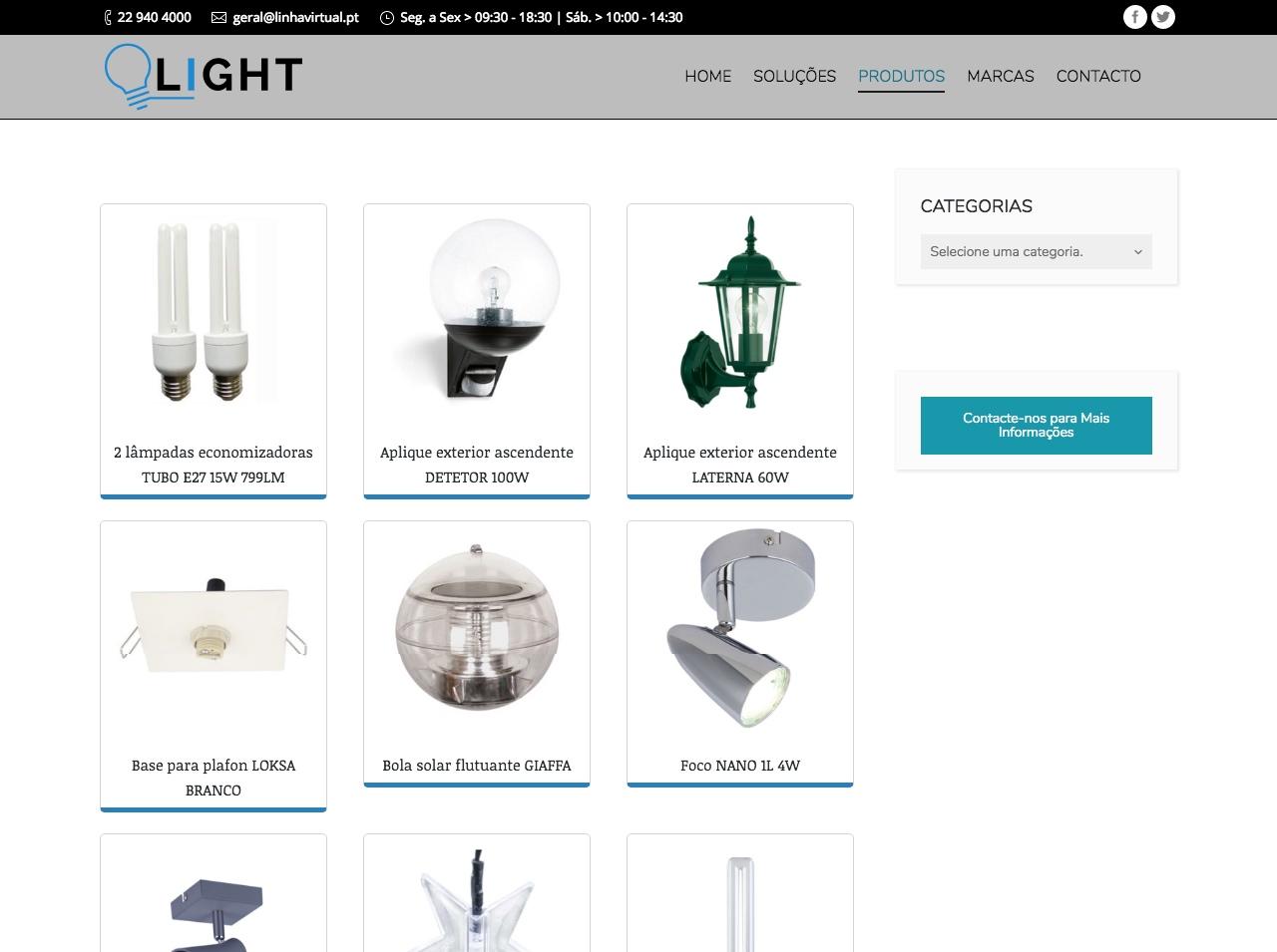 Modelos de Website Iluminação Loja Linha Virtual