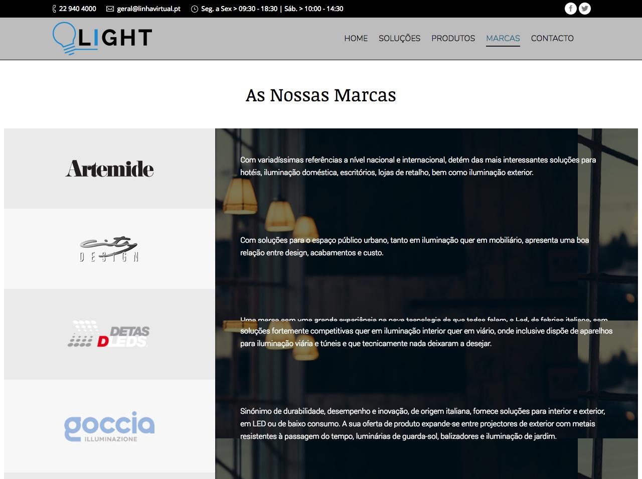 Modelos de Website Iluminação Marcas Linha Virtual