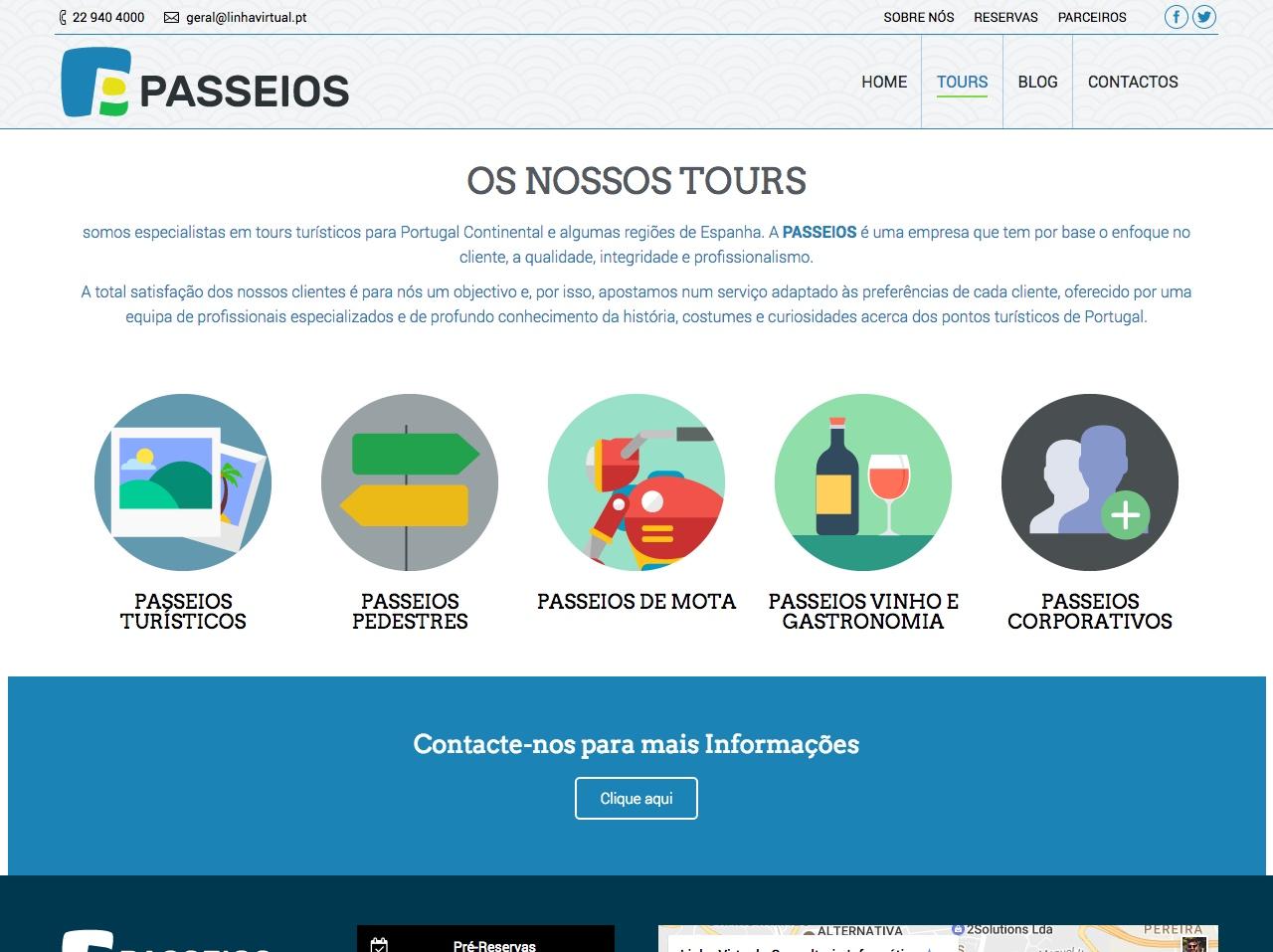 Modelos de Website Turismo Tours Linha Virtual